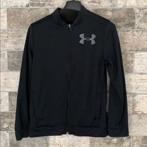 Zip-up crew neck sweatshirt